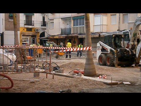 Trabajos remodelación plaza Kelibia de Almuñécar