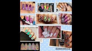 Polka dots stamping nail art collab