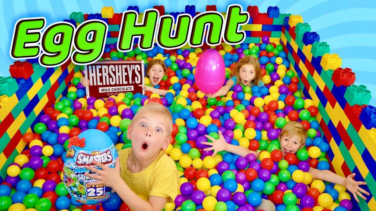 Giant Easter Egg HuNt In Lego Ball Pit!