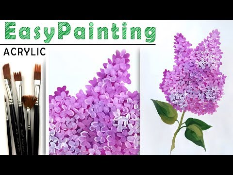 How to paint a purple LILAC flower with Acrylic art lesson.