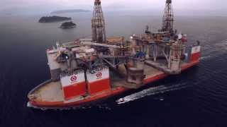 Transport of two semisubmersible drilling rigs
