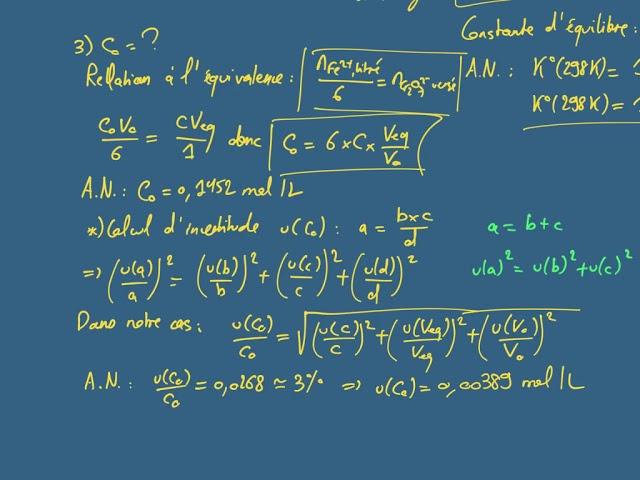 Titrage potentiométrique d'une solution d'ions fer (II)