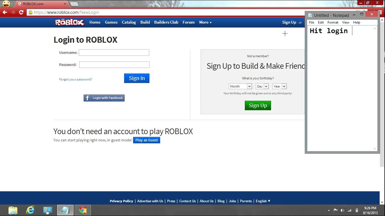 How Do You Login To Roblox With Your Facebook Youtube - roblox login and games