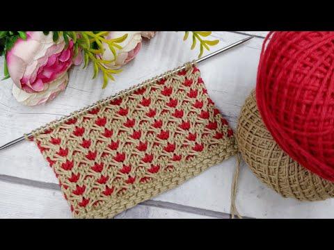 दो रंगो की आसान खूबसूरत बुनाई, Easy 2 Colours Knitting Pattern