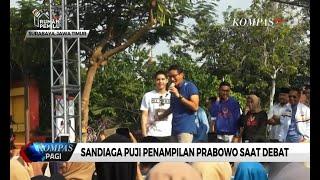 Sandiaga Apresiasi Penampilan Prabowo di Debat Keempat Pilpres