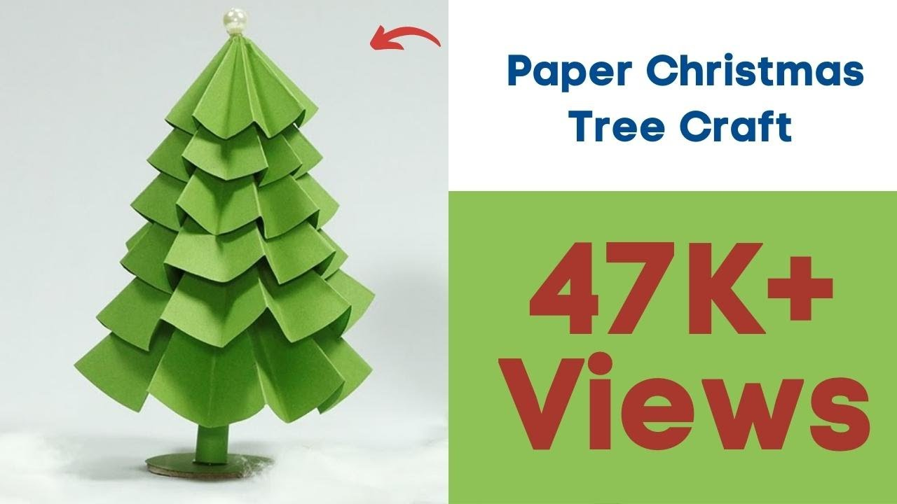 Paper christmas tree craft diy tutorial