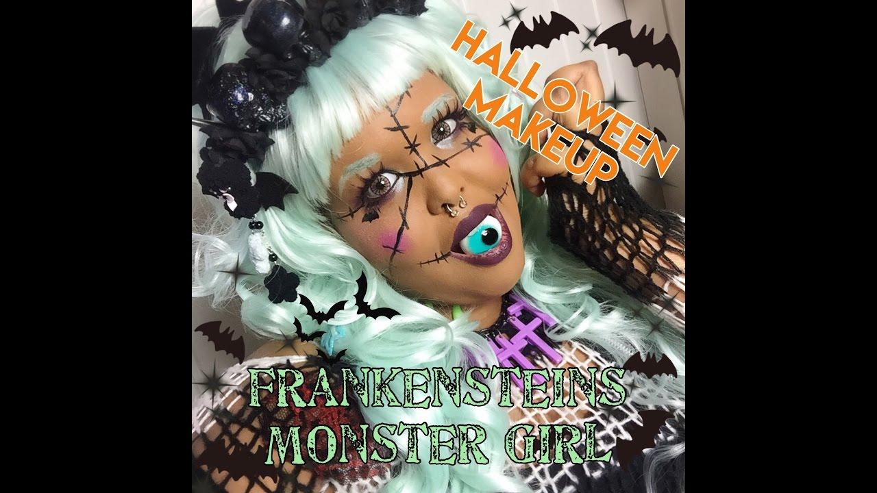 Halloween Makeup: Frankensteins Monster Girl Makeup!