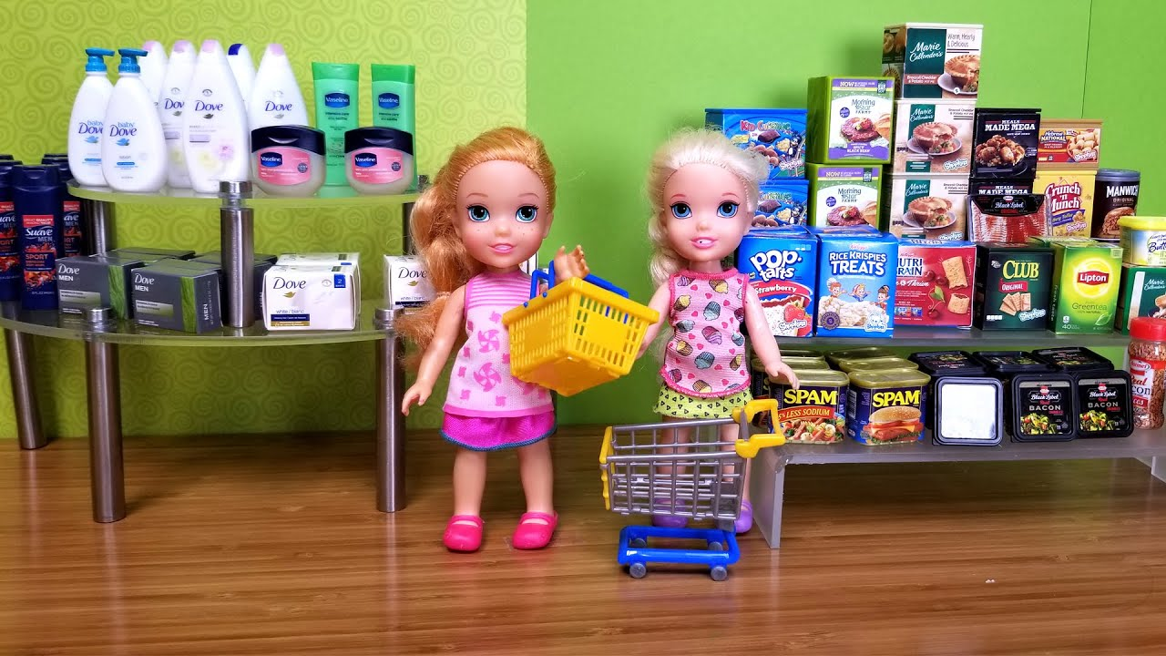 Download Grocery ! Elsa and Anna toddler at the store - shopping - food - supermarket - hide and seek