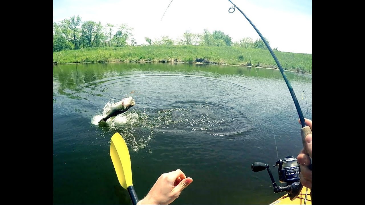 Gopro kayak fishing catching 5 pound bass youtube for Best gopro for fishing
