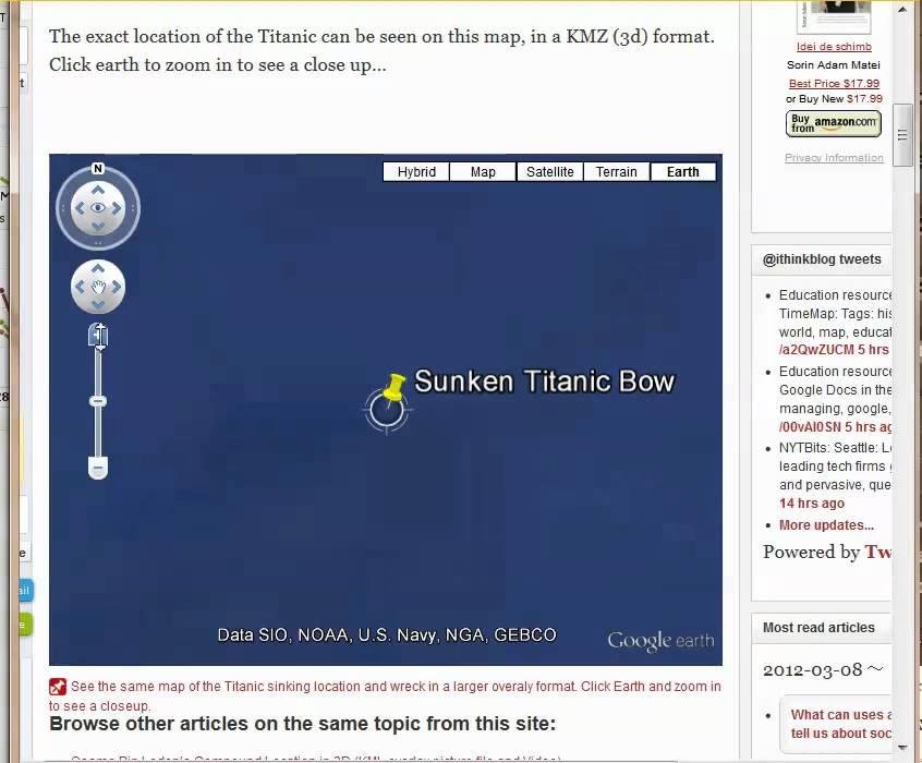 Titanic Wreck Exact Location on Google Earth Map of North Atlantic