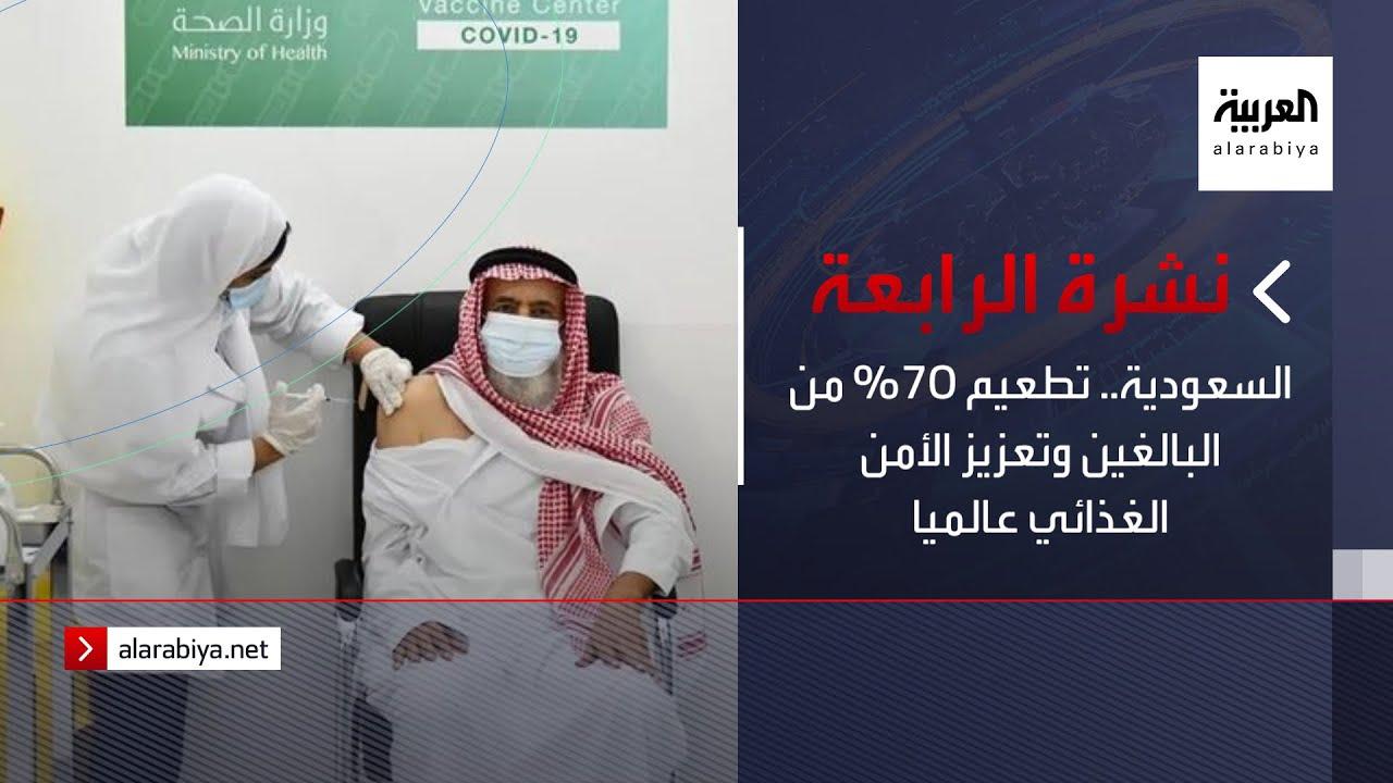نشرة الرابعة كاملة | السعودية.. تطعيم 70% من البالغين وتعزيز الأمن الغذائي عالميا  - نشر قبل 39 دقيقة