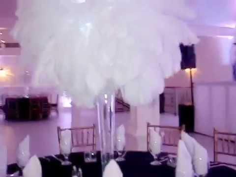 White Ostrich Feather Centerpiece Rentals at Arianas