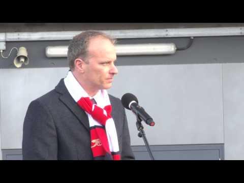 Arsenal legend Dennis Bergkamp sheds a tear at statue unveiling