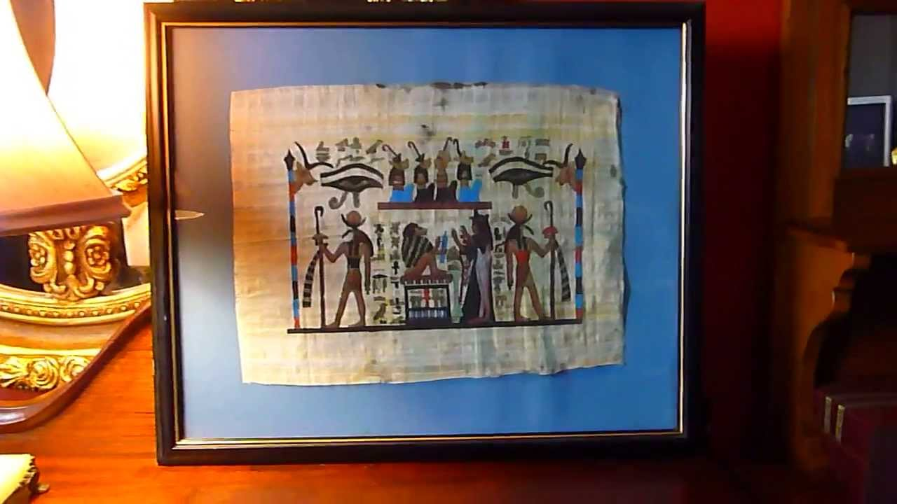 Egyptian Papyrus Painting Frame Statement.antique72 - YouTube