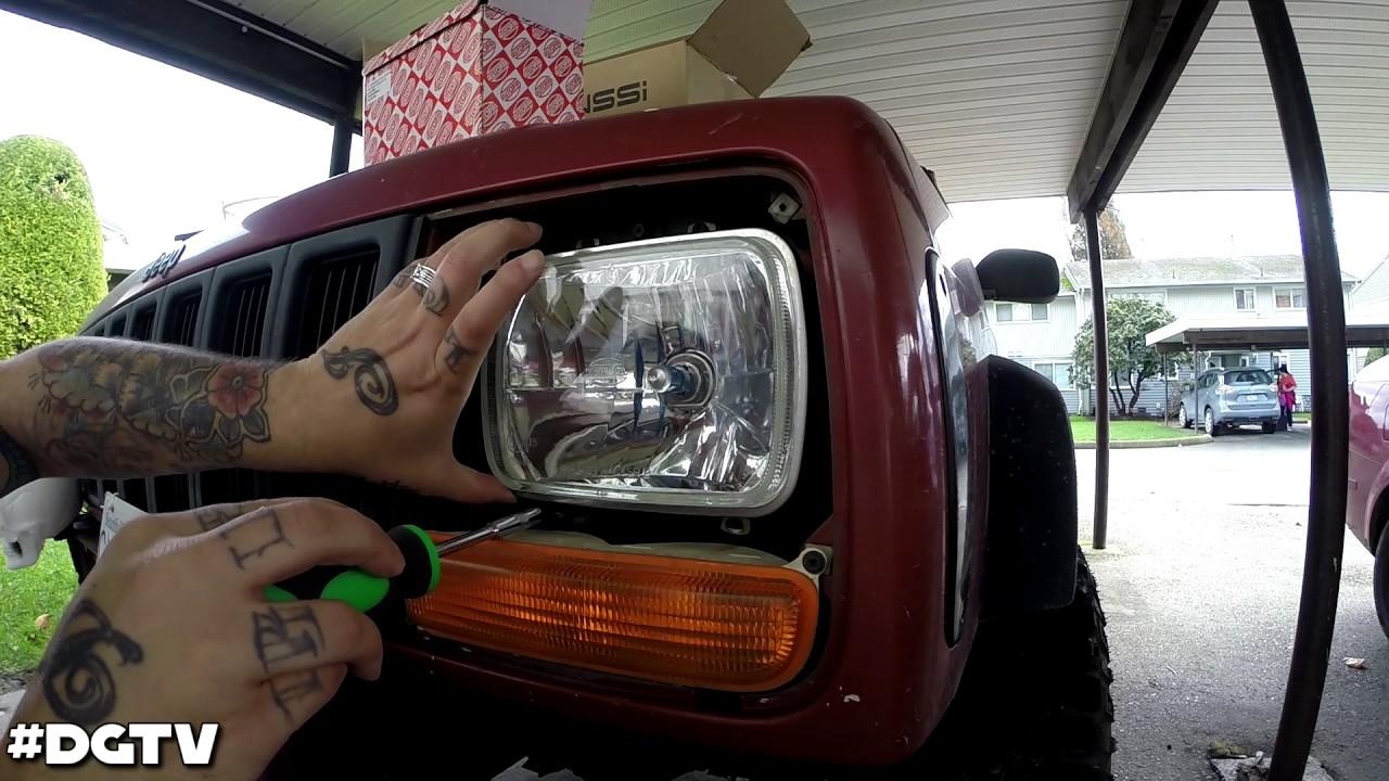 98 Jeep Cherokee XJ Headlight Conversion | Sealed Beam To H4 Housing (H6054)  YouTube