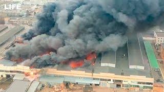 Стрим с дрона Мощный пожар на юге Москвы