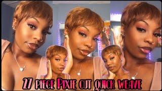 $15 PiXIE CUT QUÏCK WEAVE 27 piece tutorial🌻🤎✨ cute summer style  MIONEKA G
