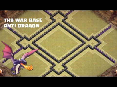 Clash of Clans - Th8 war base | Anti 3 star |Anti - hogs | Anti - dragons + defense clip