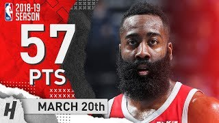James Harden Full Highlights Rockets vs Grizzlies 2019.03.20 - 57 Points, 8 Ast