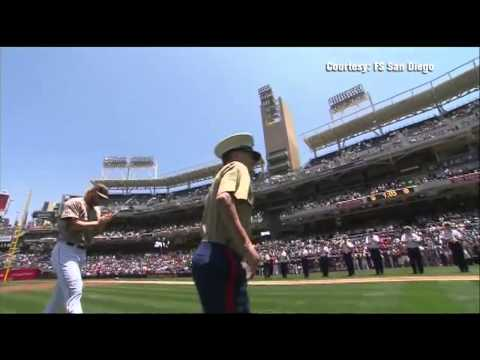Kyle Carpenter throws first pitch at SD Padres game