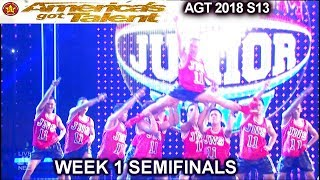 Junior New System HEAD LANDING FLIPS 100% BEST PERFORMANCE Semifinals America's Got Talent 2018 AGT