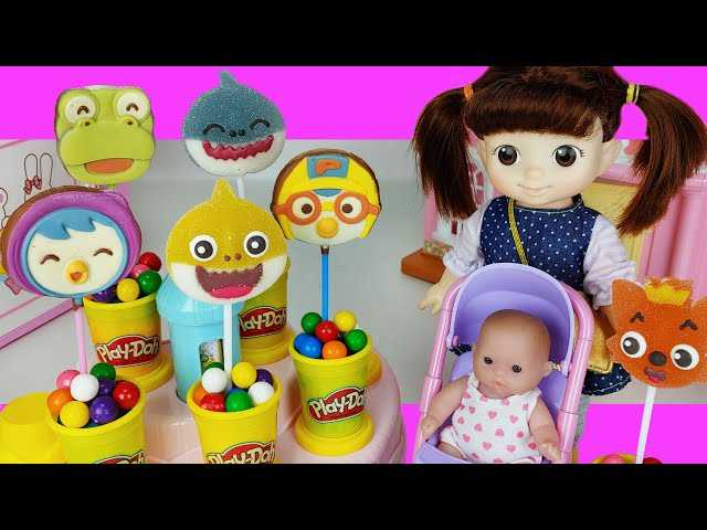Baby doll microwave cooking and jelly Chocolate Snack toys play house story - ToyMong TV 토이몽