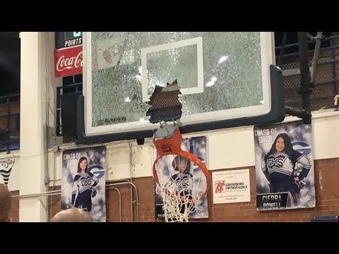 "High School Basketball Player ""Chris Hampton"" Breaks The Rim After A Windmill Dunk !!!"