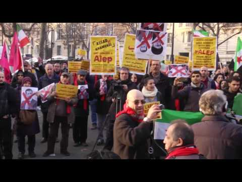 Paris, France, Syria, Demonstration outside of the Iranian embassy in Paris 17-12-2016