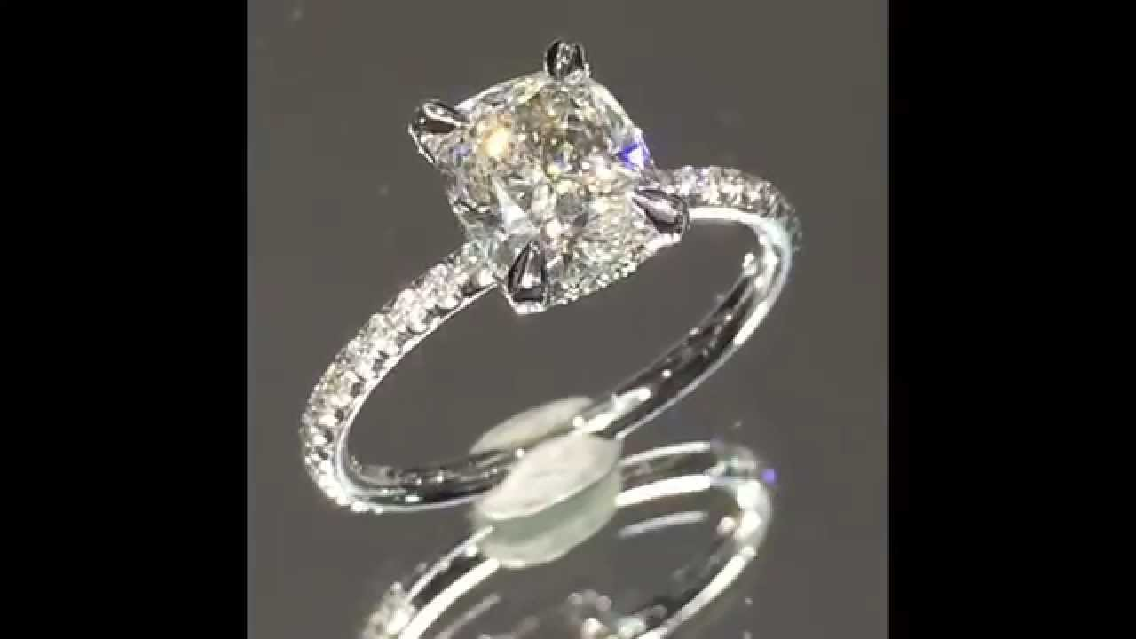 1 70 ct Elongated Cushion Diamond Engagement Ring in Micropave Band