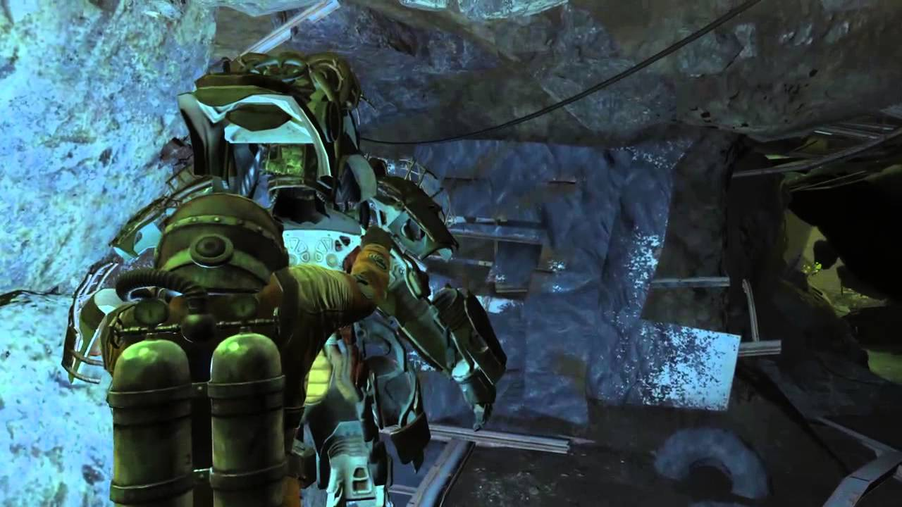 fallout 4 full set of raider power armor cave glowing sea youtube