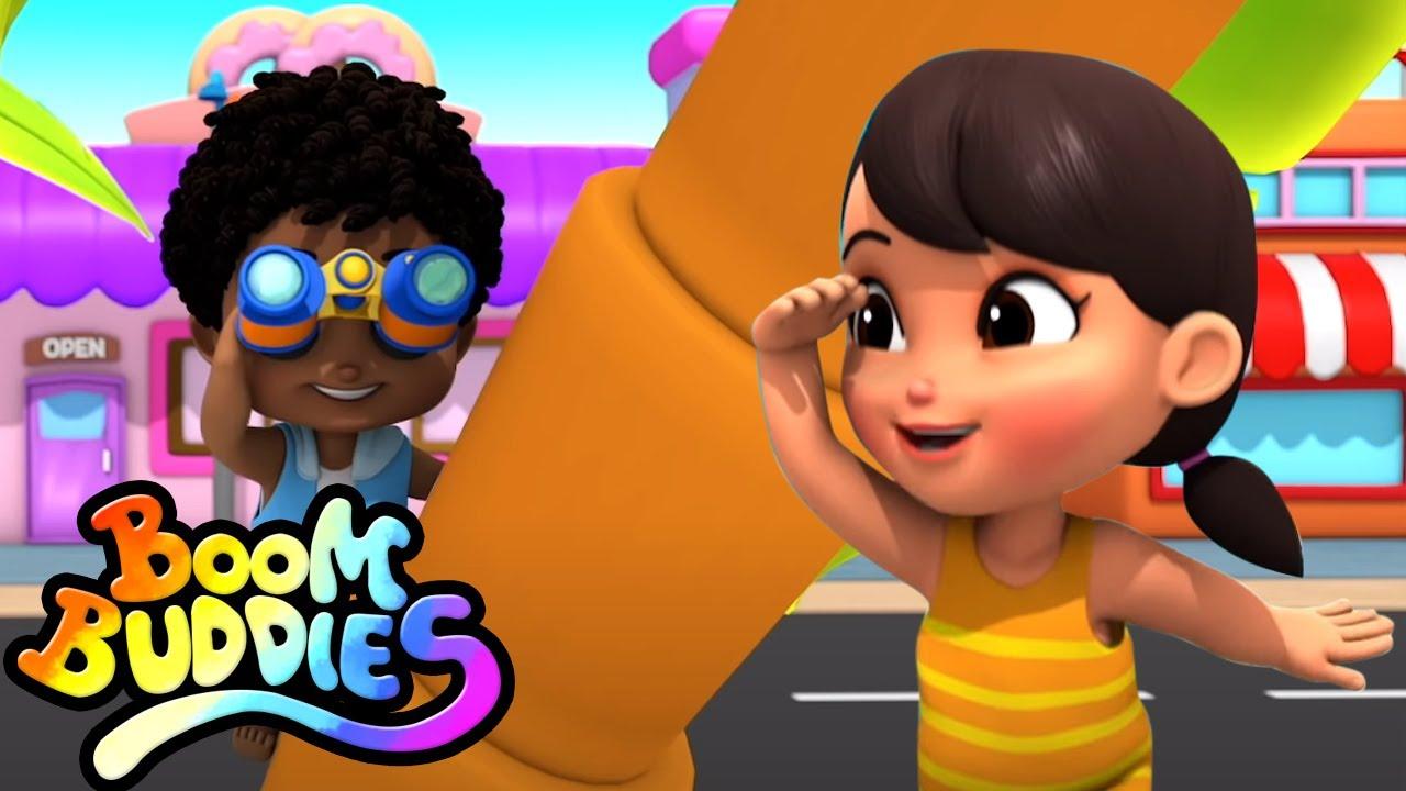 Yo espío | Dibujos animados | Canciones infantiles | Boom Buddies Español | Preescolar