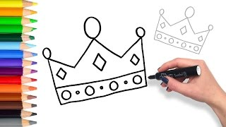 Learn to draw a Crown | Teach Drawing for Kids Coloring Page Videos