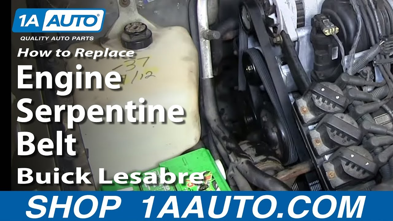 How To Replace Install Engine Serpentine Belt 1996 99 Buick Lesabre 95 Riviera Wiring 38l 3800