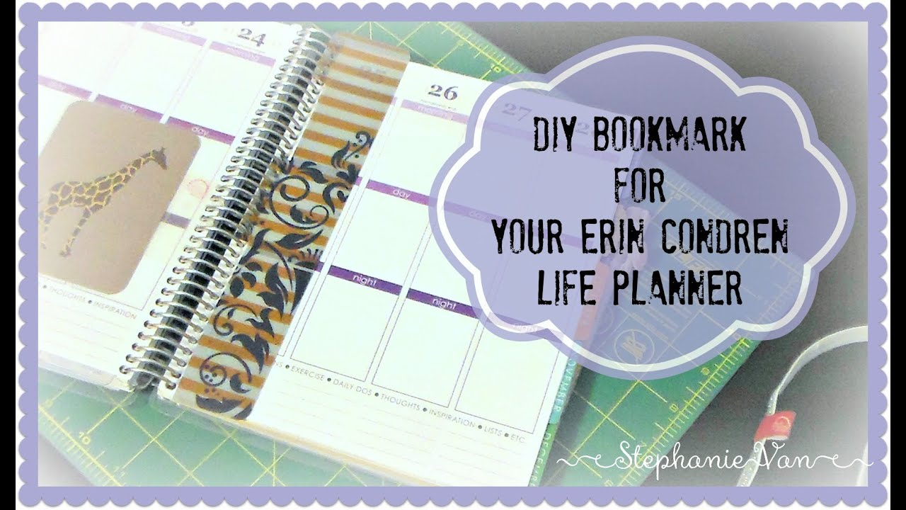 plan with van create your own bookmark for your erin condren life planner youtube. Black Bedroom Furniture Sets. Home Design Ideas