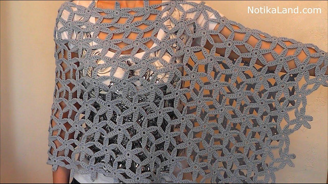 Crochet Poncho Shawl Scarf. Tutorial Part 2 - YouTube