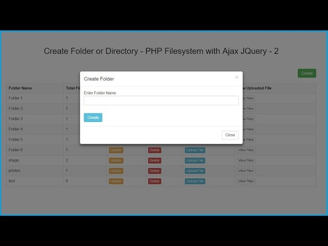 Create Folder or Directory - PHP Filesystem with Ajax JQuery - 2