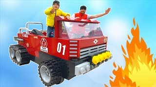 Fire Truck Ride on with Papa | Family Trip to Legoland Hotel for Children