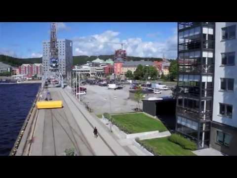 Flygtur runt Örnsköldsviks hamnområden och stadskärna