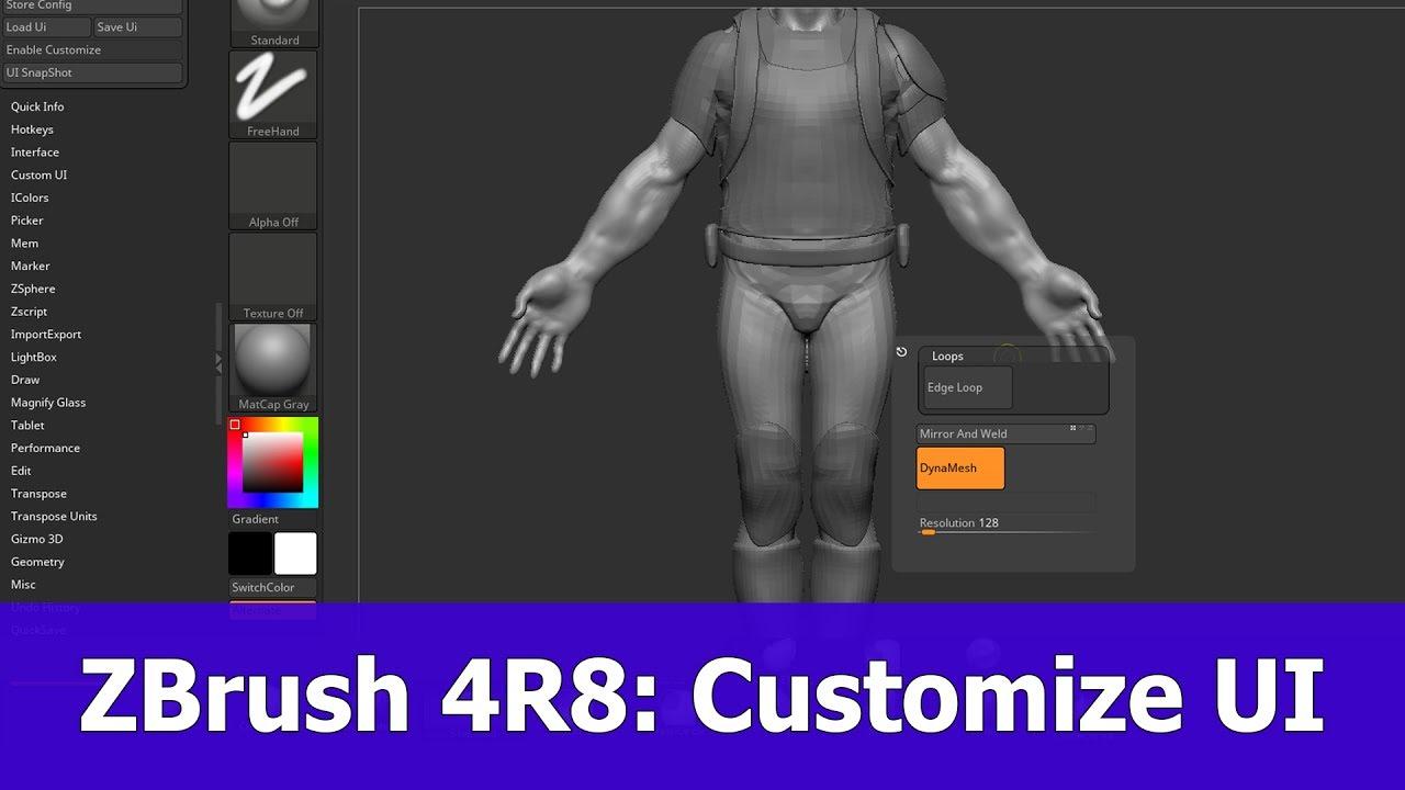 ZBrush 4R8 Custom UI