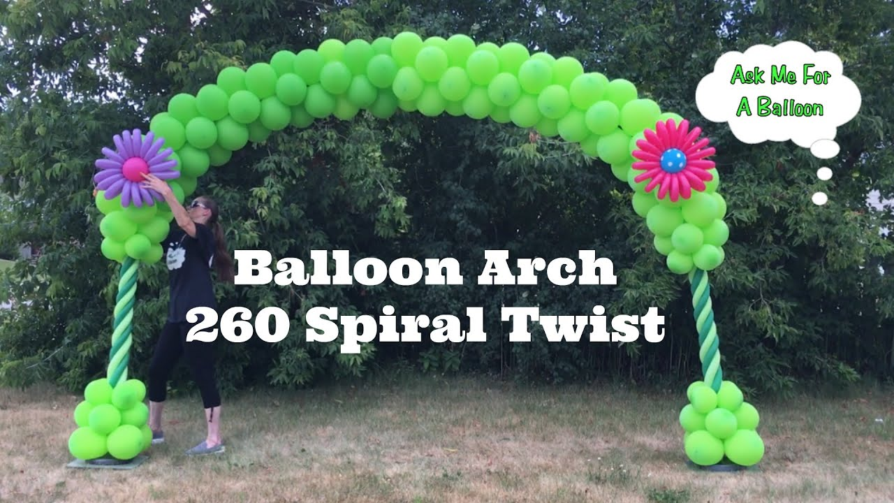 Balloon Arch 260 Spiral Twist - Balloon Decoration Tutorial - YouTube