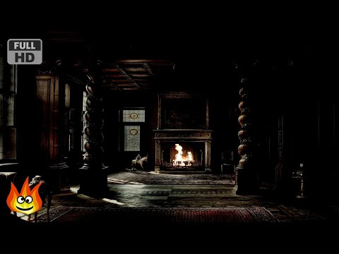 Haunted Halloween Mansion Fireplace with Thunder, Rain and Howling Wind