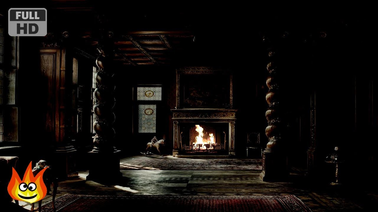 Haunted Halloween Mansion Fireplace With Thunder Rain And