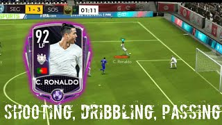 92 LF CRISTIANO RONALDO GAMEPLAY  REVIEW FIFA MOBILE 20!SHOOTING,PASSING, DRIBBLES COMPILATION GTOTW