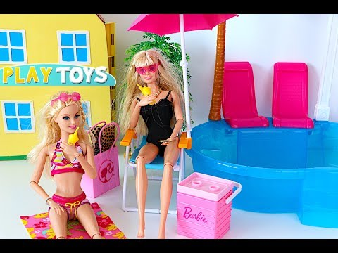 Barbie Doll Swimming Pool Party! Barbie pink car toy, surf & water toys