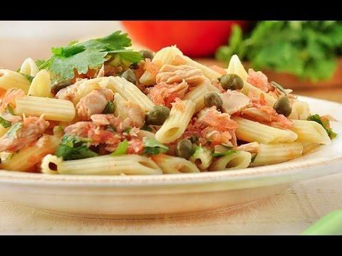 Теплый салат из пенне с