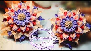 ЗАКОЛКА-ЦВЕТОК КАНЗАШИ из репсовых лент 🌷 DIY Kanzashi Flower Hairclip