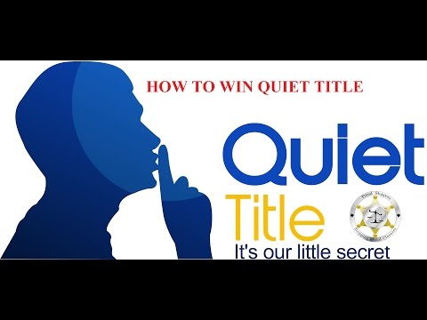 FRAUD STOPPERS Secret to Winning a Quiet Title or Wrongful F