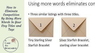 Using more words to reduce competition on Etsy. Etsy SEO tips for sellers
