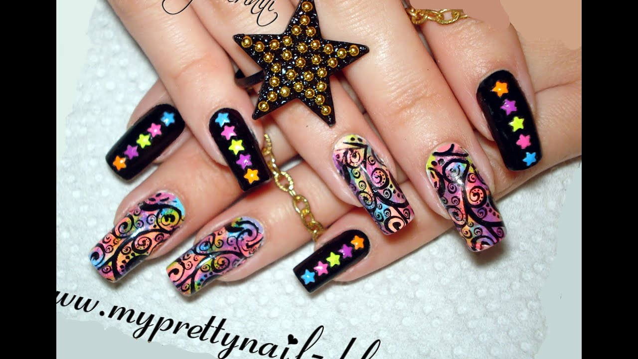 Fun Bps Star Studded Neon Ombre Gradient Nail Art Design Tutorial