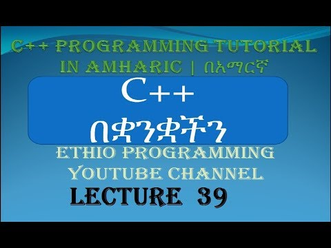 Lecture 39: C++ Programming Tutorial function  examples part 9 in Amharic | በአማርኛ